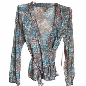 H&M Silk Abstract Print Wrap Top 12